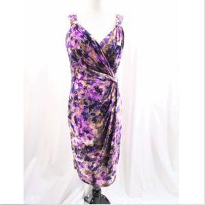 Lauren Ralph Lauren Purple Floral Ruched Dress
